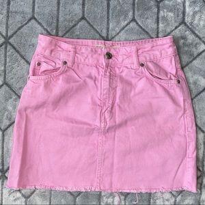 TOPSHOP Pink Denim Mini Skirt